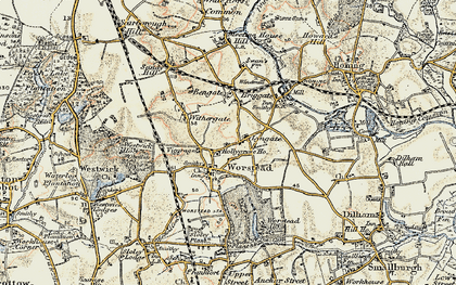 Old map of Worstead in 1901-1902