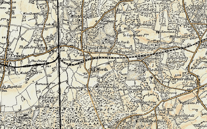 Old map of Worth Hall in 1898-1902