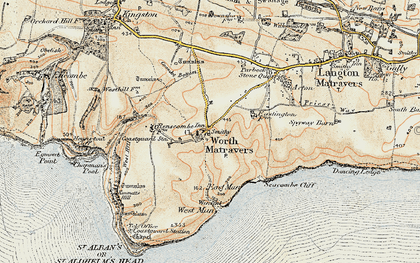 Old map of Worth Matravers in 1899-1909