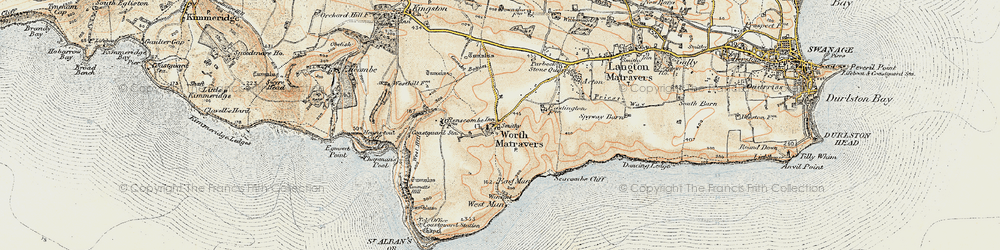 Old map of Winspit in 1899-1909