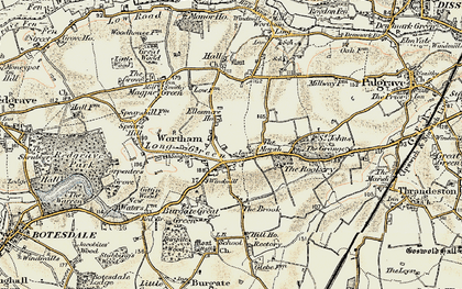 Old map of Wortham in 1901