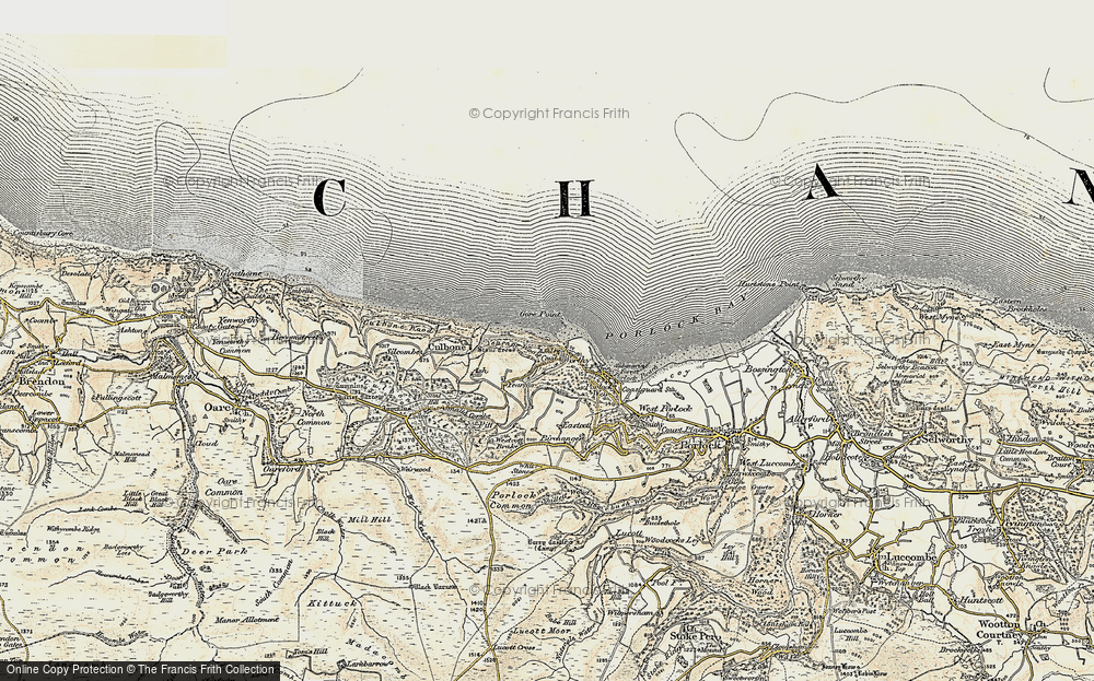Old Map of Historic Map covering Yearnor Wood in 1900