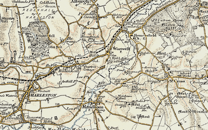 Old map of Wortwell in 1901-1902
