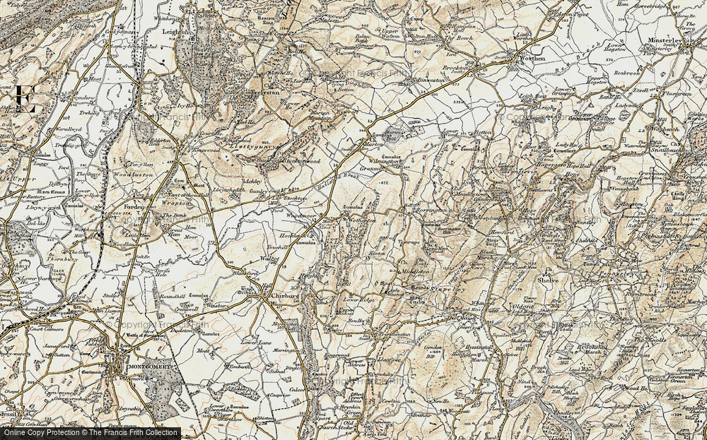 Old Map of Historic Map covering Woodmoor in 1902-1903