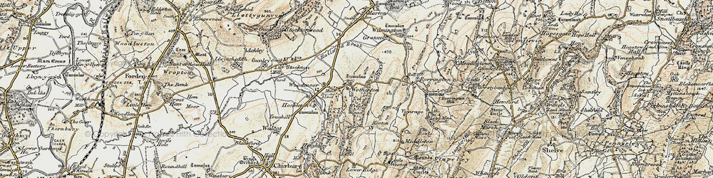 Old map of Wotherton in 1902-1903