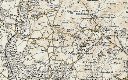 Old map of Wotter in 1899-1900