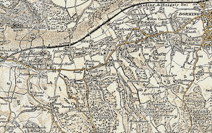 Old map of Wotton in 1898-1909