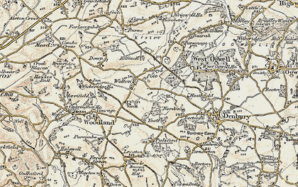 Old map of Wotton Cross in 1899