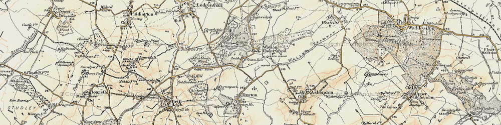 Old map of Wotton Underwood in 1898-1899