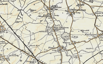 Old map of Woughton on the Green in 1898-1901
