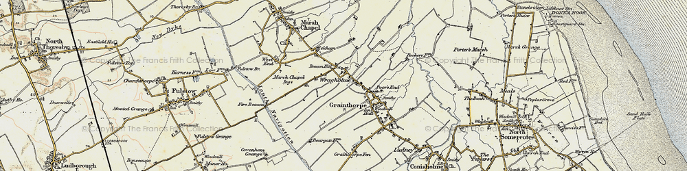 Old map of Wragholme in 1903-1908