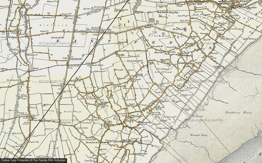Old Map of Historic Map covering Wrangle Common in 1901-1902