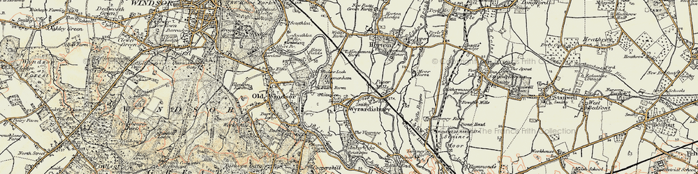 Old map of Wraysbury in 1897-1909