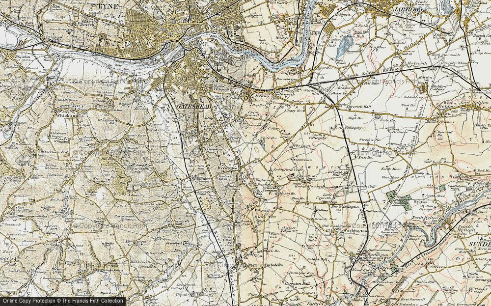 Old Map of Wrekenton, 1901-1904 in 1901-1904