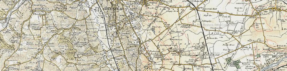 Old map of Wrekenton in 1901-1904