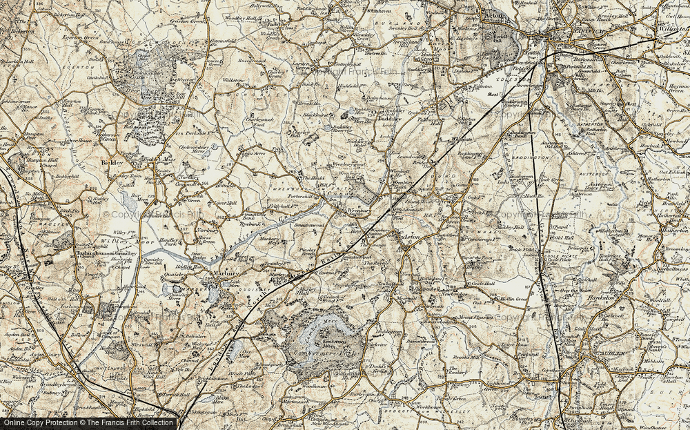 Old Map of Wrenbury, 1902 in 1902