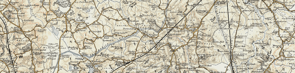 Old map of Wrenbury in 1902