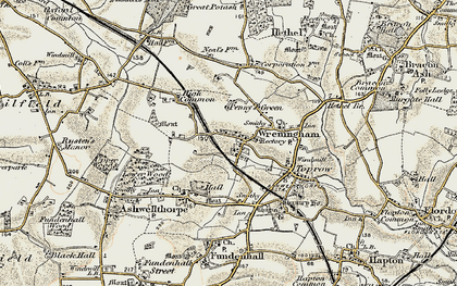 Old map of Wreningham in 1901-1902