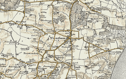 Old map of Wrentham Great Wood in 1901-1902