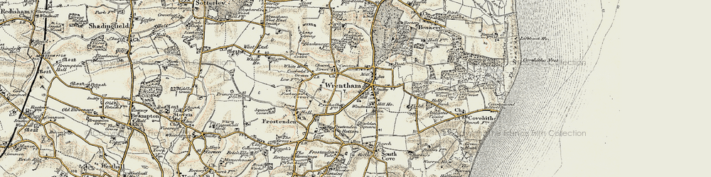 Old map of Wrentham in 1901-1902