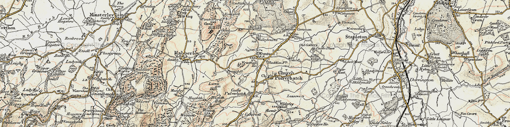 Old map of Wrentnall in 1902-1903