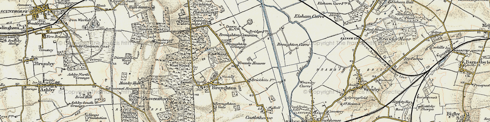Old map of Wressle in 1903-1908