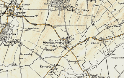Old map of Wrestlingworth in 1898-1901