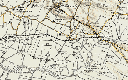 Old map of Wretton in 1901-1902
