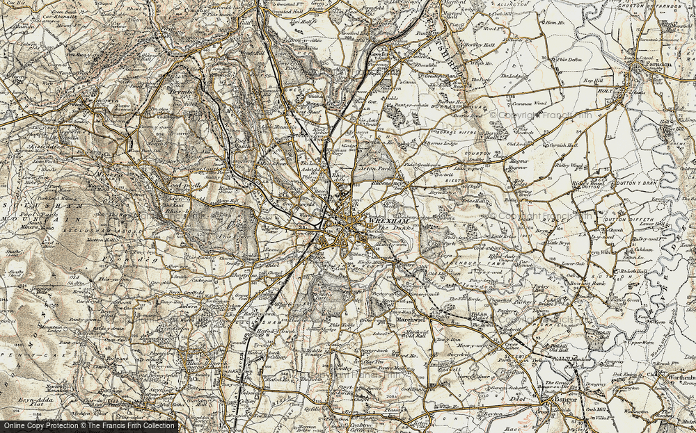 Old Map of Wrexham, 1902 in 1902