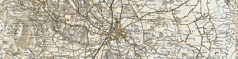 Old map of Wrexham in 1902