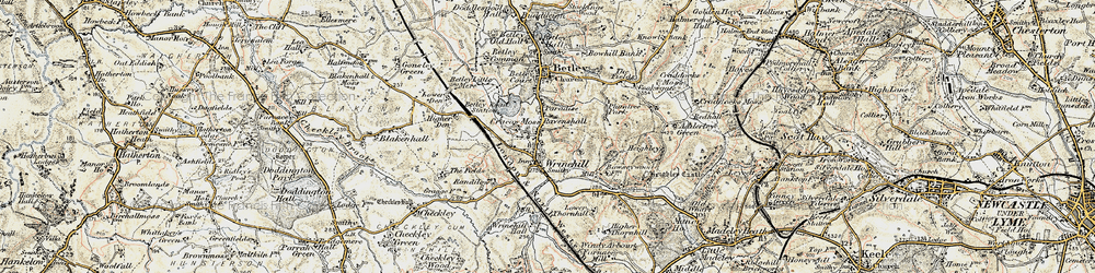 Old map of Wrinehill in 1902