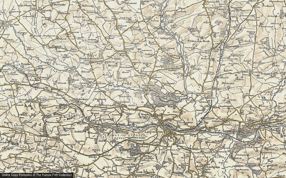 Old Map of Historic Map covering Leat in 1900