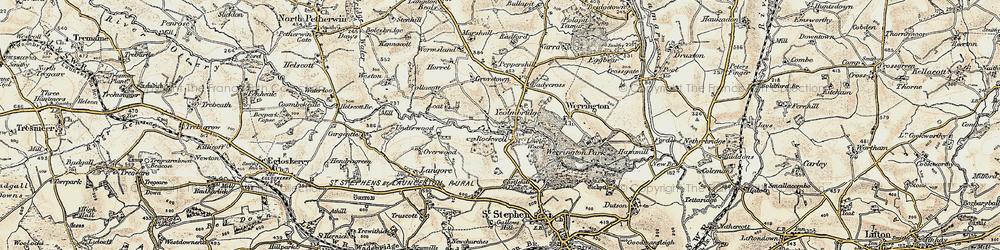 Old map of Wringsdown in 1900