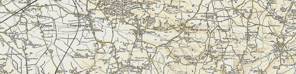 Old map of Wrington in 1899-1900