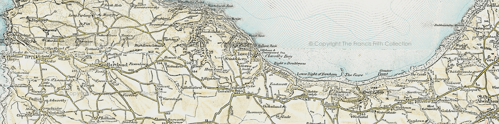 Old map of Wrinkleberry in 1900