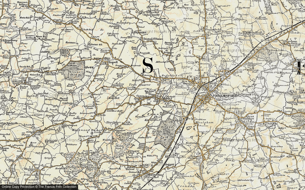 Old Map of Writtle, 1898 in 1898