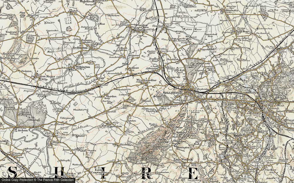Old Map of Wrockwardine, 1902 in 1902