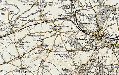 Old map of Wrockwardine in 1902