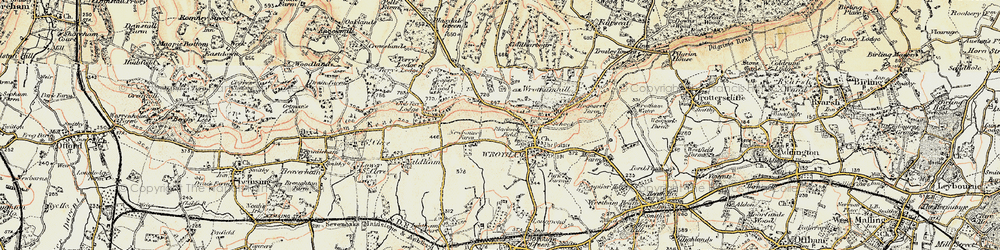 Old map of Wrotham in 1897-1898