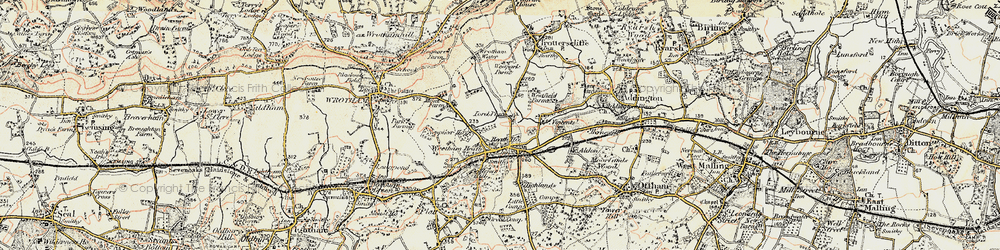 Old map of Wrotham Water in 1897-1898