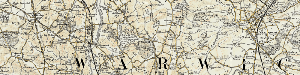 Old map of Wroxhall Abbey (sch) in 1901-1902