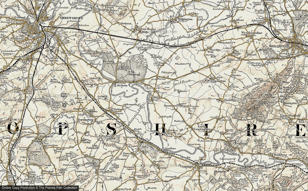 Old Map of Wroxeter, 1902 in 1902