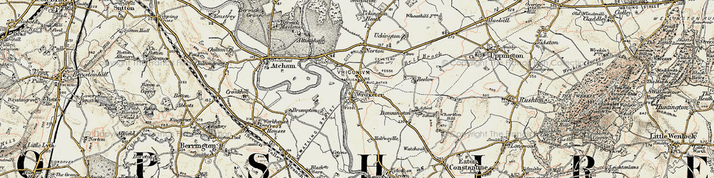 Old map of Wroxeter in 1902