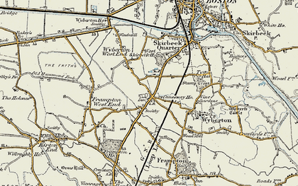 Old map of Wyberton in 1901-1902