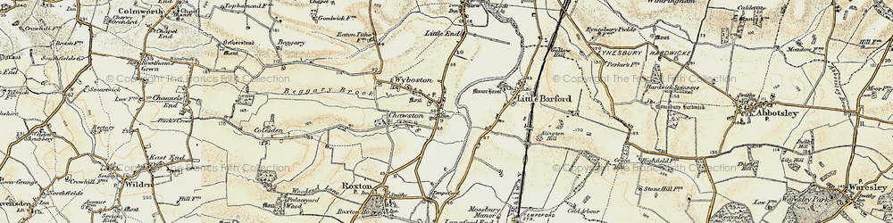 Old map of Wyboston in 1898-1901