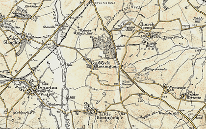 Old map of Wyck Rissington in 1898-1899