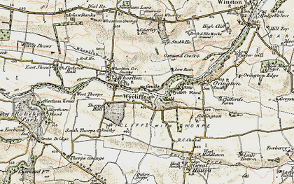 Old map of Wycliffe in 1903-1904