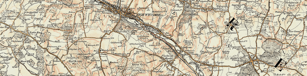 Old map of Wycombe Marsh in 1897-1898