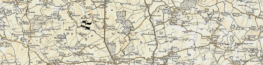 Old map of Wyddial in 1898-1899
