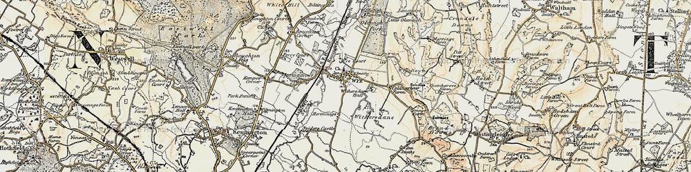 Old map of Wye in 1897-1898